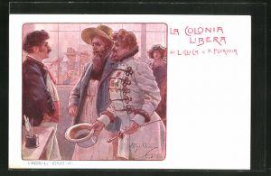 Künstler-AK sign. A. Beltrame: La Colonia Libera, Mann zieht zur Begrüssung seinen Hut