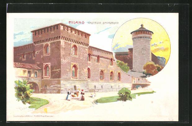 Künstler-AK sign. A. Beltrame: Milano, Castello Sforzesco