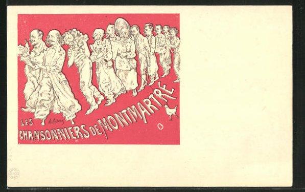Künstler-AK sign. A. Andreas: Les Chansonniers de Montmartre