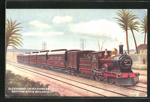 Künstler-AK Lokomotive, Alexandria-Cairo Express, Egyptian State Railways