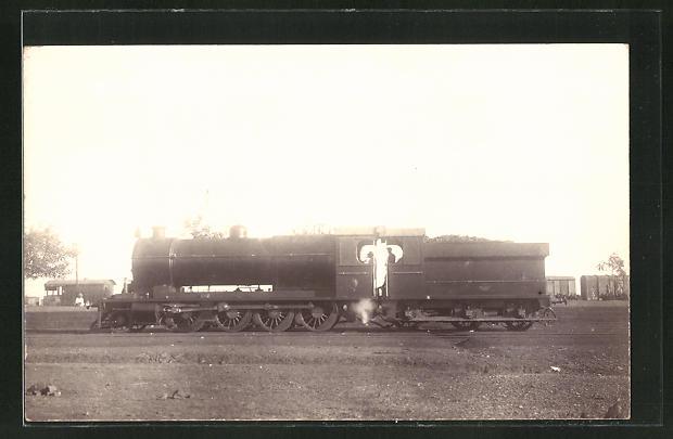 AK Lokomotive mit Waggons im Hintergrund 0