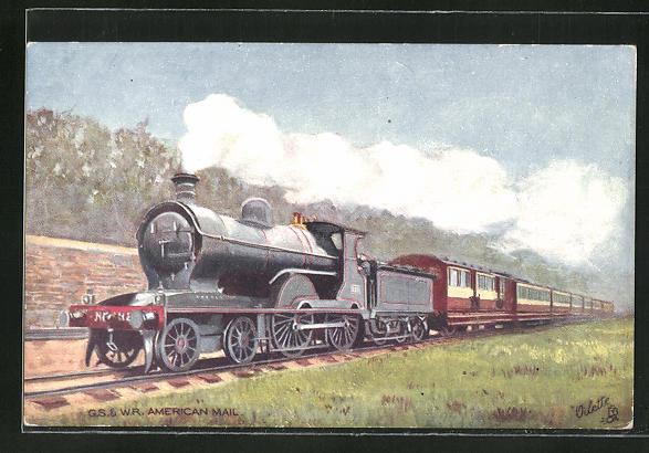 Künstler-AK Eisenbahn, G. s. & W. R. American Mail 0