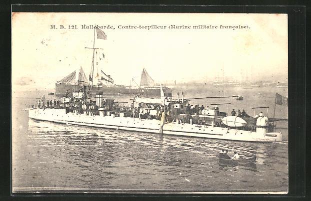 AK Kriegsschiff, M. B. 121, Hallebarde, Contre-torpilleur, Marine militaire francaise 0