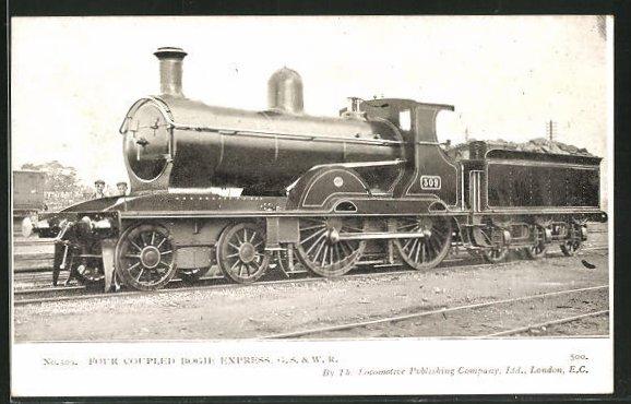 AK englische Eisenbahn No. 309, four coupled Bogie Express