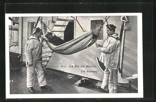 AK La Vie du marin, Un hamac, Matrosen auf einem Kriegsschiff 0