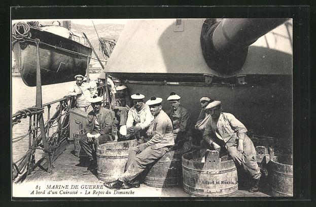AK Marine de Guerre, a bord d'un Cuirasse, Le Repos du Dimanche 0