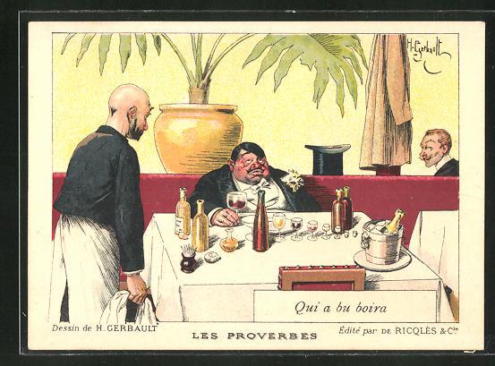 Künstler-AK sign. H. Gebrault: Les Proverbes, Qui a bu Boira 0