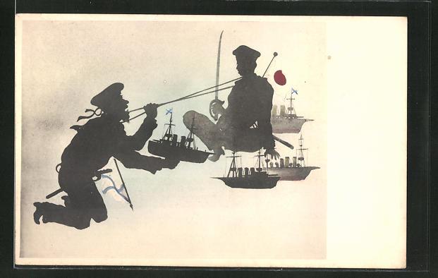 AK Russisch-Japanischer Krieg, Soldaten mit Kriegsschiffen