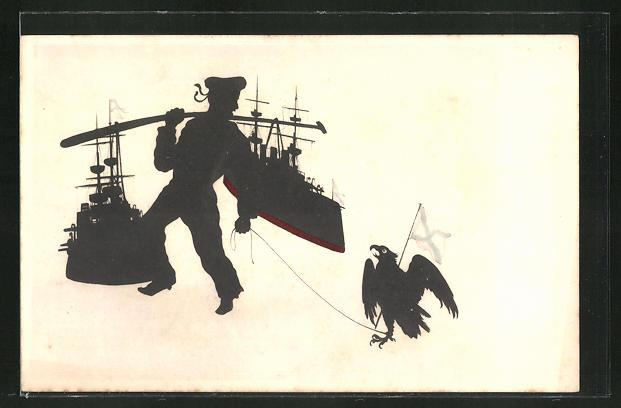 AK Russisch-Japanischer Krieg, Soldat mit Adler und Kriegsschiffen 0