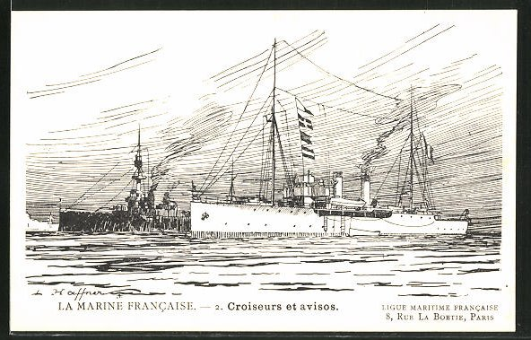 Künstler-AK La Marine Francaise, Croiseurs et avisos 0