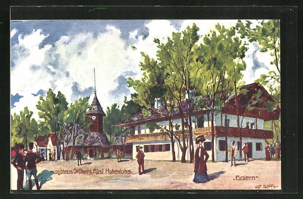 Künstler-AK Ulf Seidl: Wien, Intern. Jagd-Ausstellung 1910, Jagdhaus S. Durchl. Fürst Hohenlohe 0