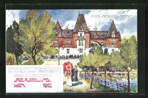 Künstler-AK Ulf Seidl: Wien, Intern. Jagd-Ausstellung 1910, Kaiserl. Jagdschloss in Mürzsteg