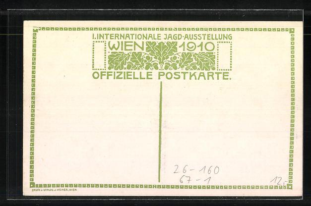 Künstler-AK Ulf Seidl: Wien, Intern. Jagd-Ausstellung 1910, Kaiserl. Jagdschloss in Mürzsteg 1