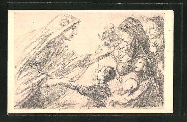 Künstler-AK sign. Steinlen: Geistliche begrüsst gläubige Mütter & Kinder 0