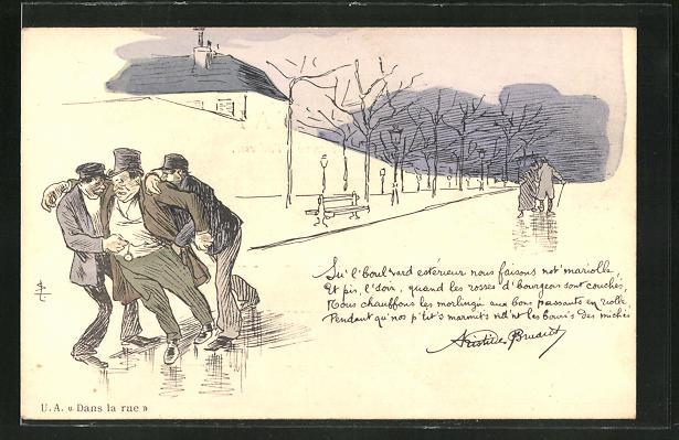 Künstler-AK sign. Steinlen: Dans la rue, Diebe bestehlen eine betrunkenen Mann auf der Strasse