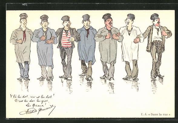 Künstler-AK sign. Steinlen: Dans la rue, Männer in Hemden und Anzügen
