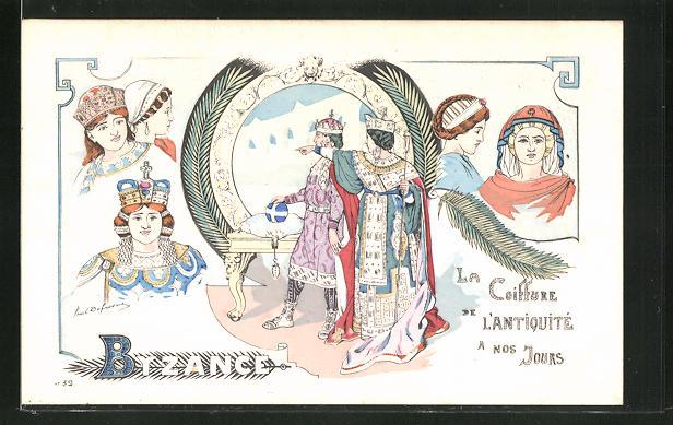 Künstler-AK sign. P. Dufresne: Byzance, La Coiffure de l'antiquite a nos Jours im Jugendstil 0