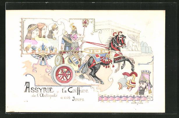 Künstler-AK sign. P. Dufresne: Assyrie, la Coiffure de l'antiquite a nos Jours 0