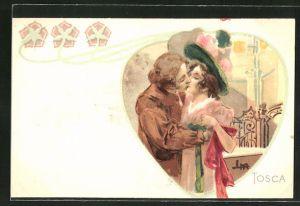 Künstler-AK Leopoldo Metlicovitz: Tosca, Paar küsst sich innig