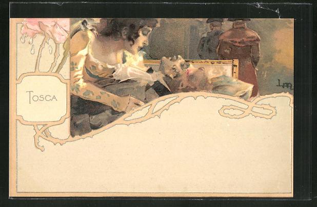 Künstler-AK Leopoldo Metlicovitz: Tosca, Frau beugt sich über ihren im Sterben liegenden Mann