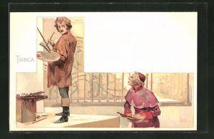 Künstler-AK Leopoldo Metlicovitz: Tosca, zwei Maler mit Farbpalette und Pinsel