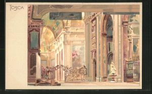 Künstler-AK Leopoldo Metlicovitz: Tosca, Inneres einer antiken Schlosshalle