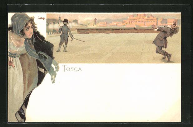 Künstler-AK Leopoldo Metlicovitz: Tosca, Duell mit Schert und weinende Frau