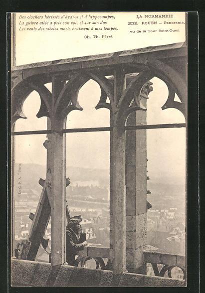 Künstler-AK sign. Mérovack: Rouen, Mérovack auf dem Turm Saint-Ouen
