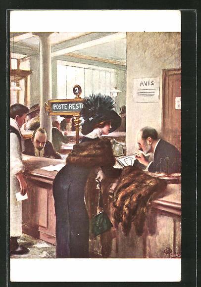 Künstler-AK Albert Guillaume: Elegante Dame am Postschalter