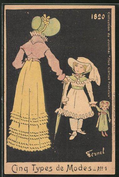 Künstler-AK sign. Fernel: Cinq Types de Modes, No. 1, Mutter mit Tochter