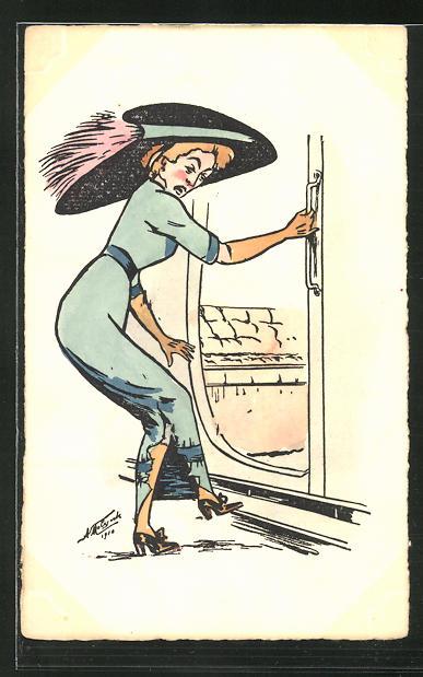 Künstler-AK sign. A. Molynk: Dame zerreisst beim Einsteigen in ein Zugabteil ihr Kleid