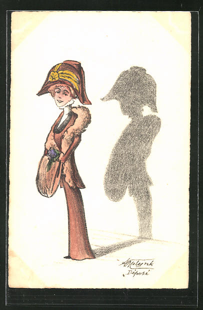 Künstler-AK sign. A. Molynk: Dame in eleganter Mode und ihr Schatten
