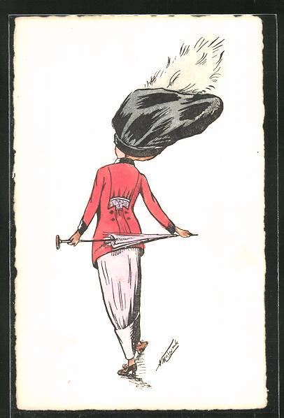 Künstler-AK sign. A. Molynk: Modisch gekleidete Dame mit Schirm