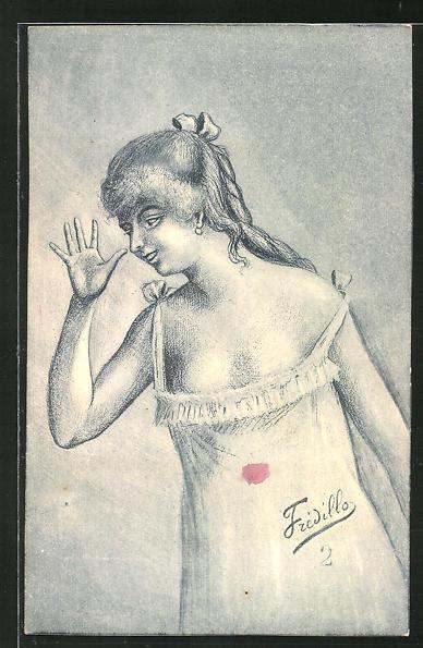 Künstler-AK sign. Fredillo: Junge Frau im Unterkleid dreht eine lange Nase
