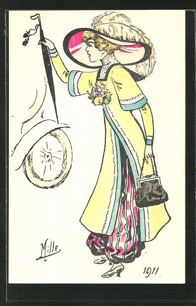 Künstler-AK sign. Mille: Elegante Dame schimpft auf ein Auto