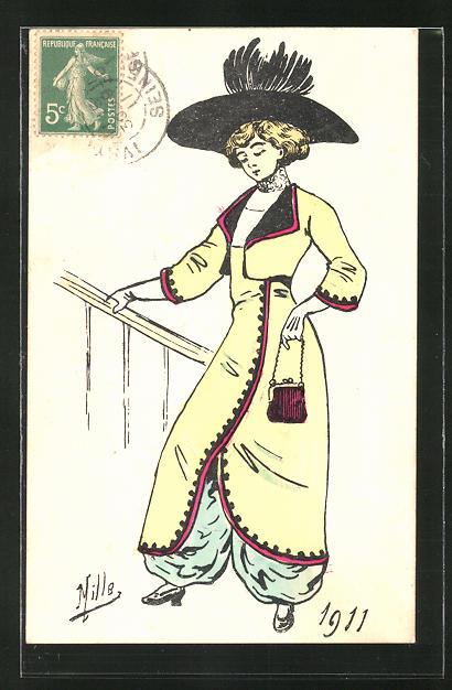 Künstler-AK sign. Mille: Elegante Dame mit Hosen und Überrock