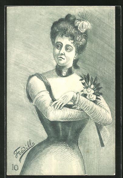 Künstler-AK sign. Fredillo: Dame im eleganten Kleid mit Blumen