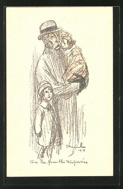 Künstler-AK sign. Steinlen: Alter Mann mit seinen Enkeln