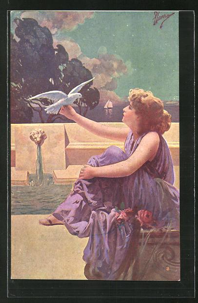 Künstler-AK G. Guerzoni: Schöne Frau mit weisser Taube an einem Brunnen