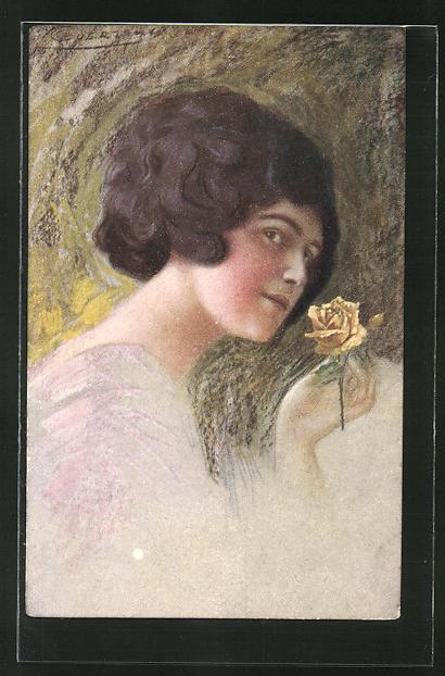 Künstler-AK G. Guerzoni: Junge Schönheit mit gelber Rose