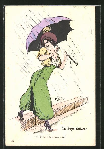 Künstler-AK sign. Lafon: Frau in grüner Hose mit Regenschirm und Hut spaziert durch den Regen