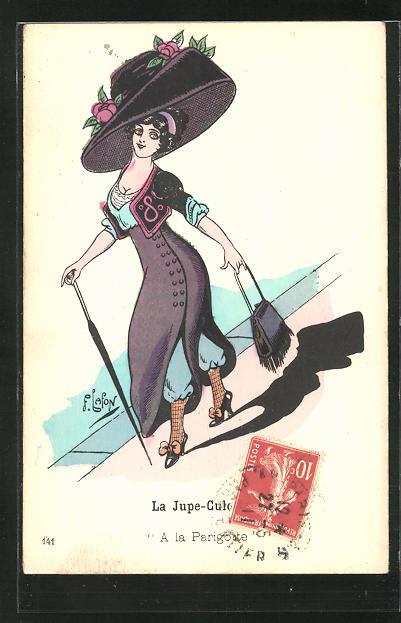Künstler-AK sign. Lafon: Dame mit grossem violetten Hut und Kleid spaziert