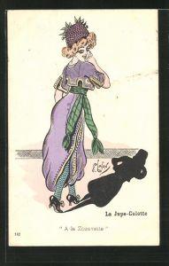 Künstler-AK sign. Lafon: Frau mit violetten Hut und Kleid wirft schatten