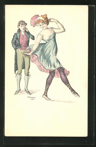 Künstler-AK sign. Popper: Mann beobachtet seine Liebste beim Tanzen