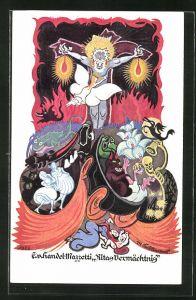 Künstler-AK Edo v. Handel-Mazzetti: Ritas Vermächtnis, Fabeltiere, Teufel, Engel