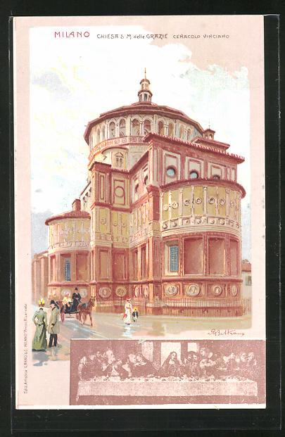 Künstler-AK sign. A. Beltrame: Milano. Chiesa S. M. delle Grazie
