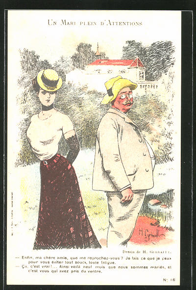 Künstler-AK sign. H. Gerbault: Schöne Dame und dicker Herr mit rotem Gesicht