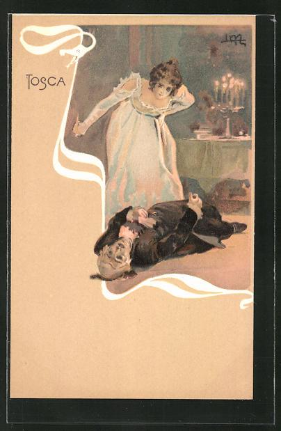 Künstler-AK Leopoldo Metlicovitz: Szene aus der Oper Tosca, Dame beugt sich über einen Toten