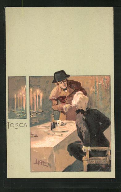 Künstler-AK Leopoldo Metlicovitz: Szene aus der Oper Tosca, Gast an der Tafel