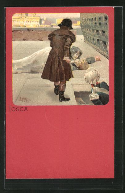 Künstler-AK Leopoldo Metlicovitz: Szene aus der Oper Tosca, Liegende Dame auf einem Platz